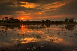 Закат в дельте Окаванго